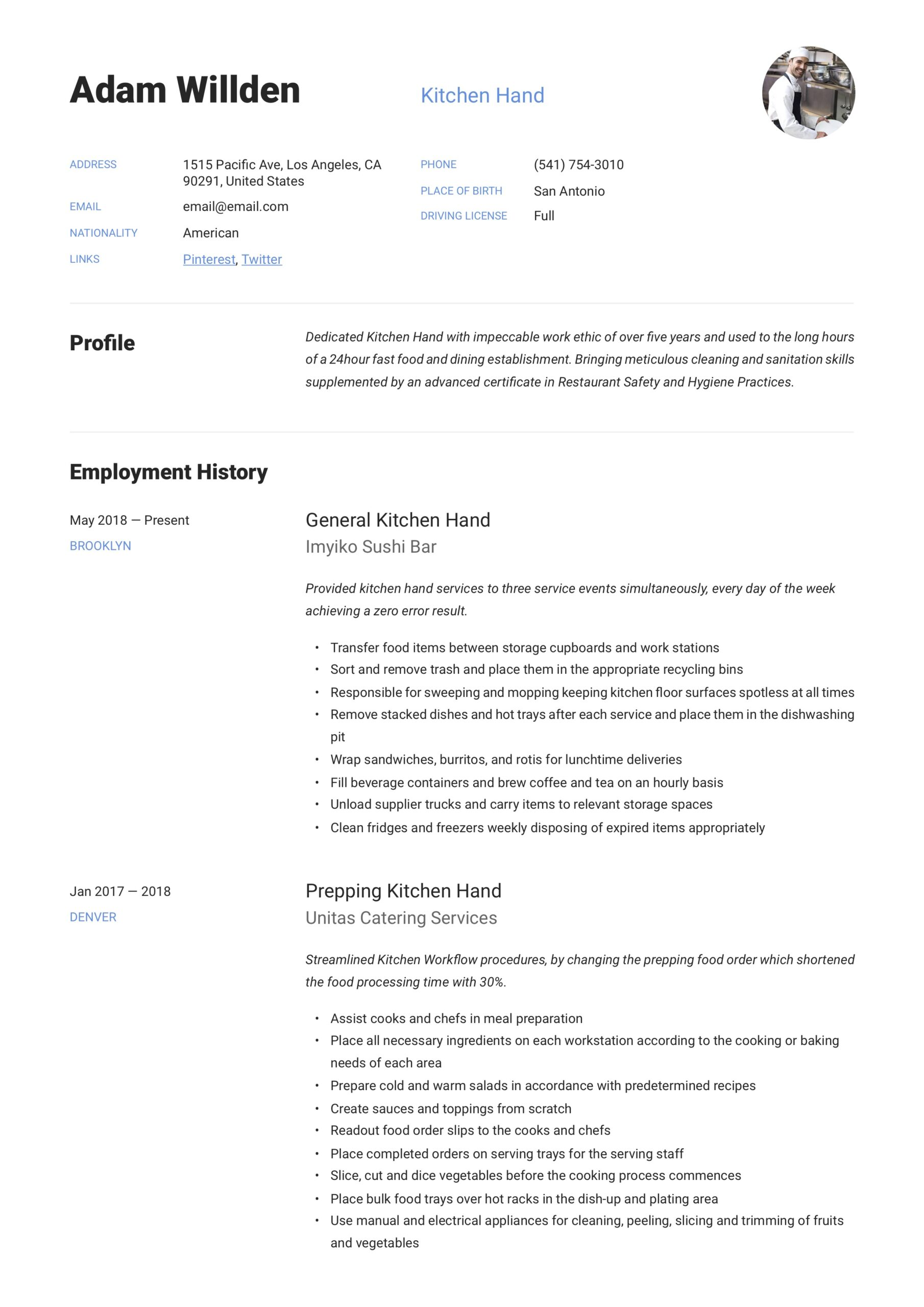 kitchen resume writing guide free templates responsibilities good reasons for leaving job Resume Kitchen Hand Responsibilities Resume