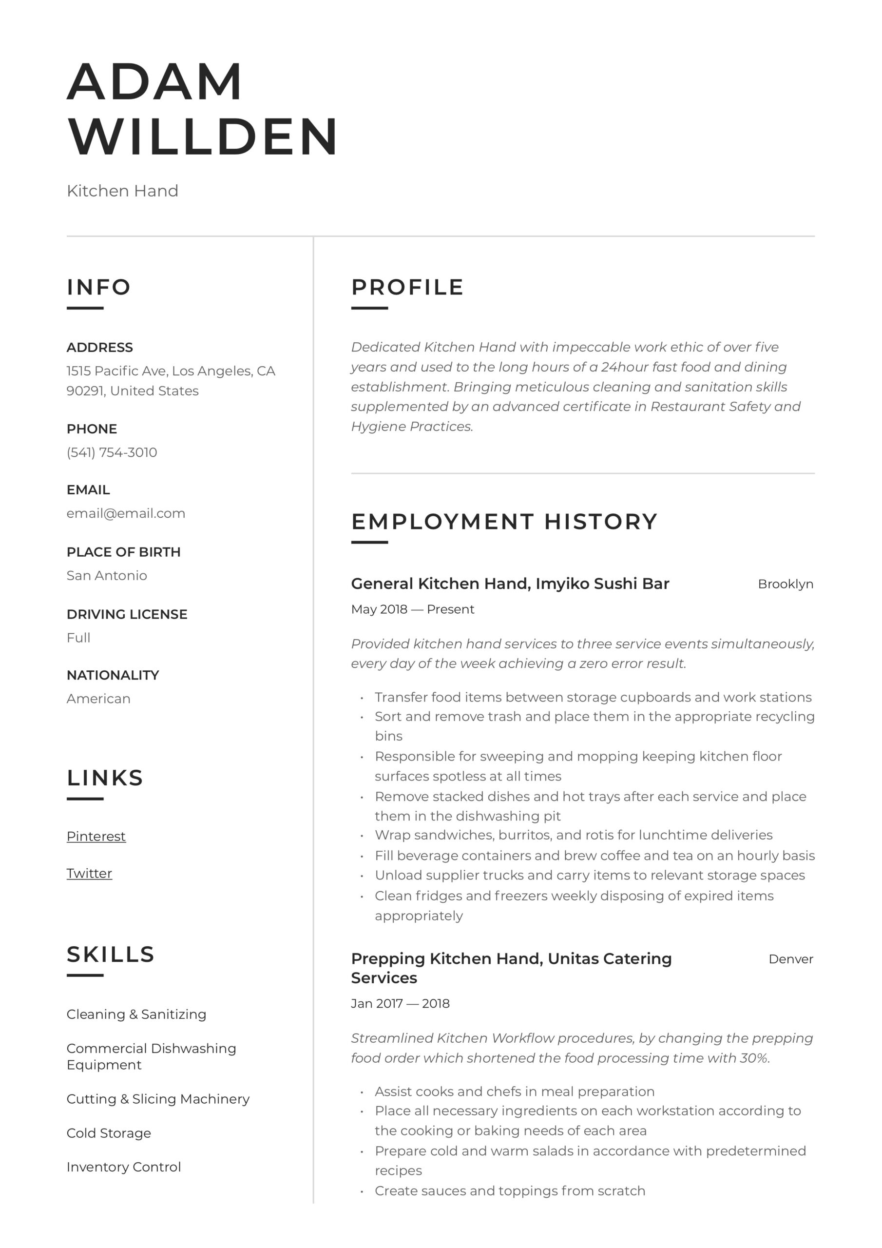 kitchen resume writing guide free templates responsibilities printable examples clean ads Resume Kitchen Hand Responsibilities Resume
