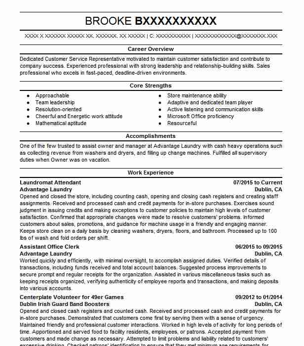 laundromat attendant resume example resumes livecareer laundry programming projects for Resume Laundry Attendant Resume Example