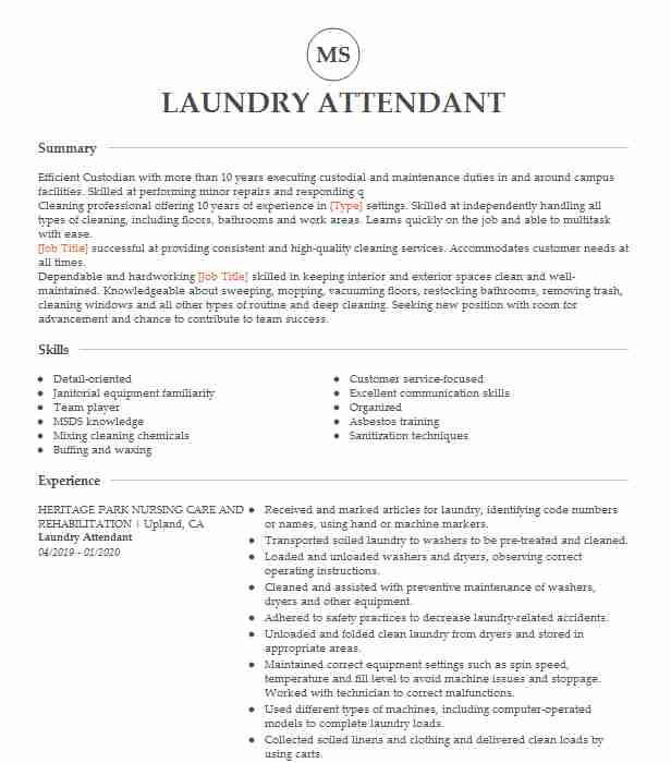 laundry attendant inventory resume example courtyard by marriott atlanta chronological Resume Laundry Attendant Resume Example