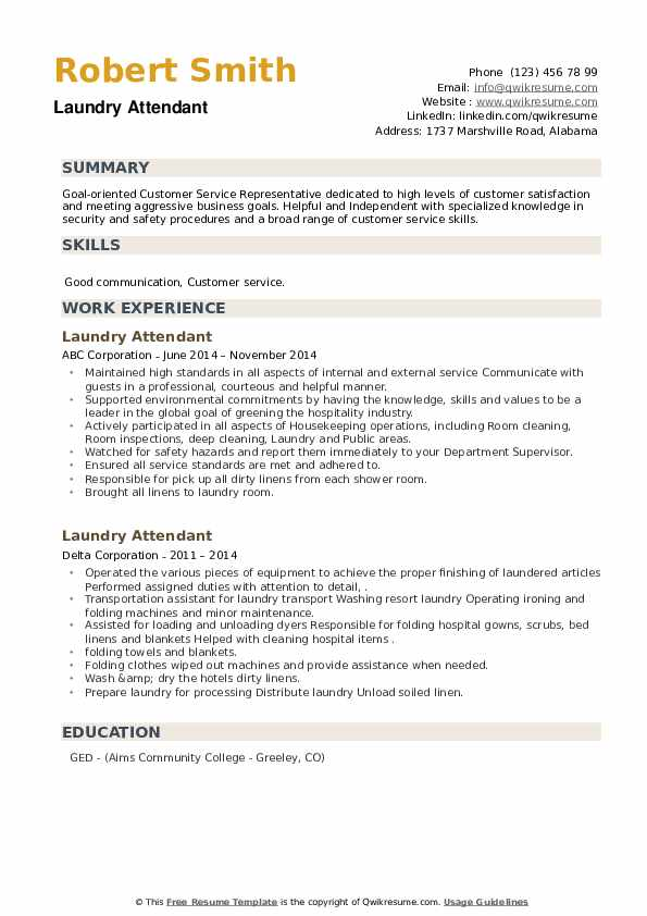 laundry attendant resume samples qwikresume example pdf personal summary examples Resume Laundry Attendant Resume Example