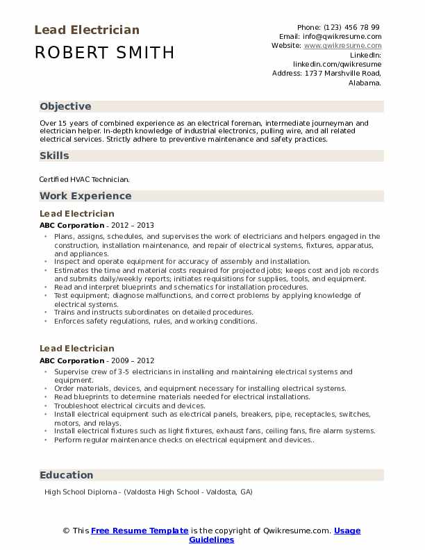 lead electrician resume samples qwikresume objective statement pdf library technician Resume Electrician Resume Objective Statement