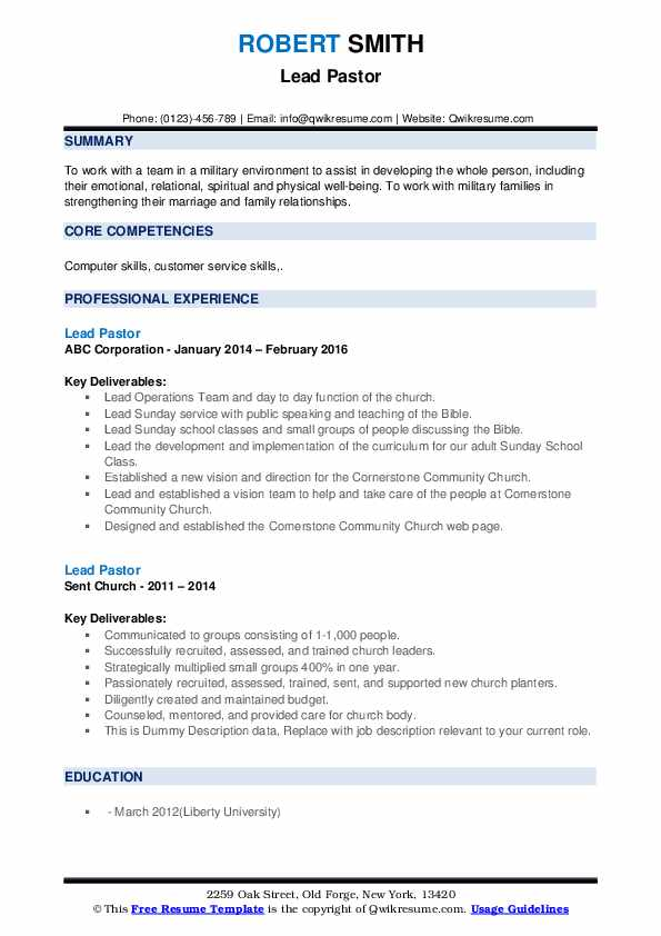 lead pastor resume samples qwikresume church ministry templates pdf certified writer Resume Sample Ministry Resume And Cover Letter