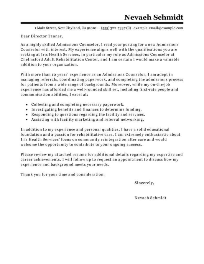 leading professional admissions counselor cover letter examples resources myperfectresume Resume Enrollment Counselor Resume