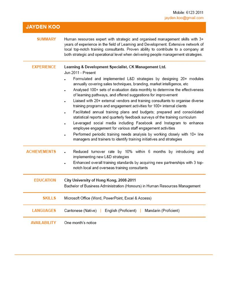 learning development specialist cv ctgoodjobs powered by career times and resume personal Resume Learning And Development Resume
