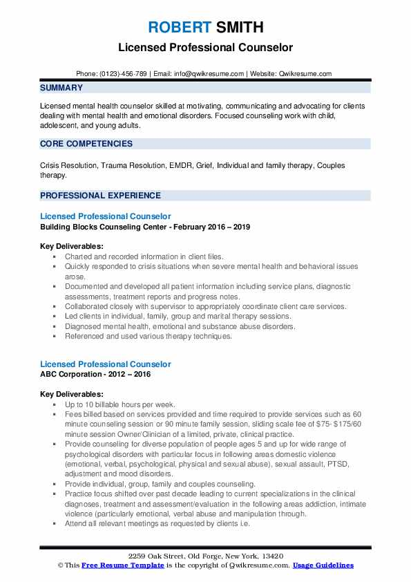 licensed professional counselor resume samples qwikresume pdf colorful template sample Resume Licensed Professional Counselor Resume