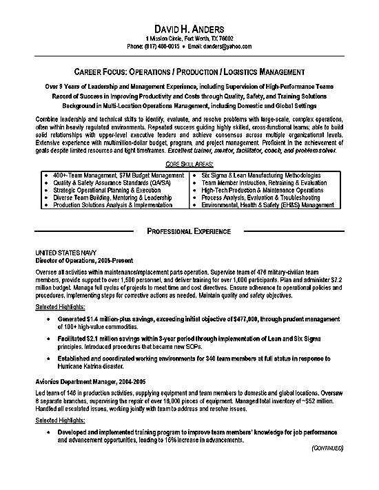 logistics resume example operations production military writers military3a sample and Resume Military Resume Writers