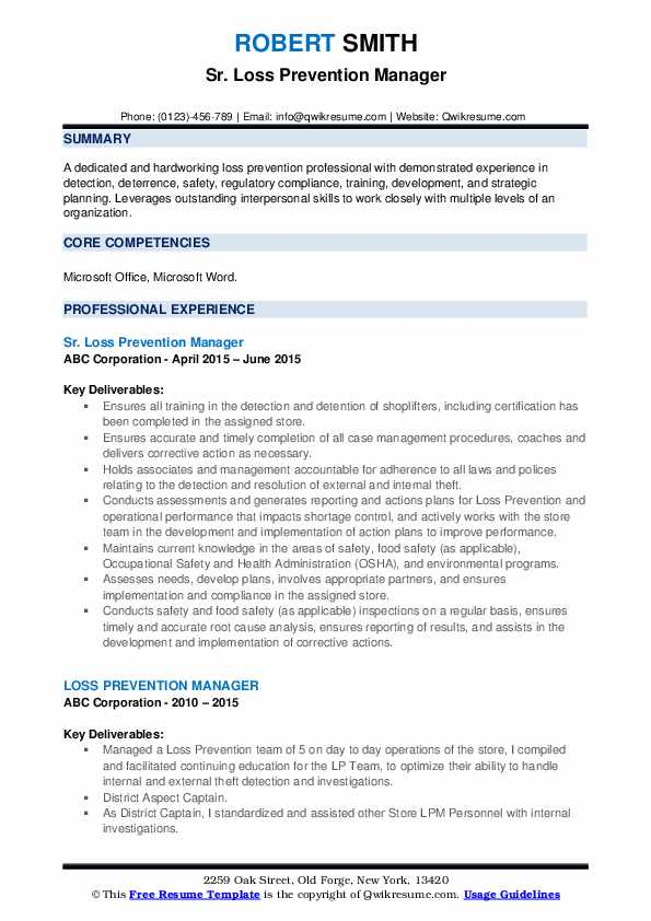 loss prevention manager resume samples qwikresume sample pdf le petit prince en francais Resume Loss Prevention Manager Resume Sample