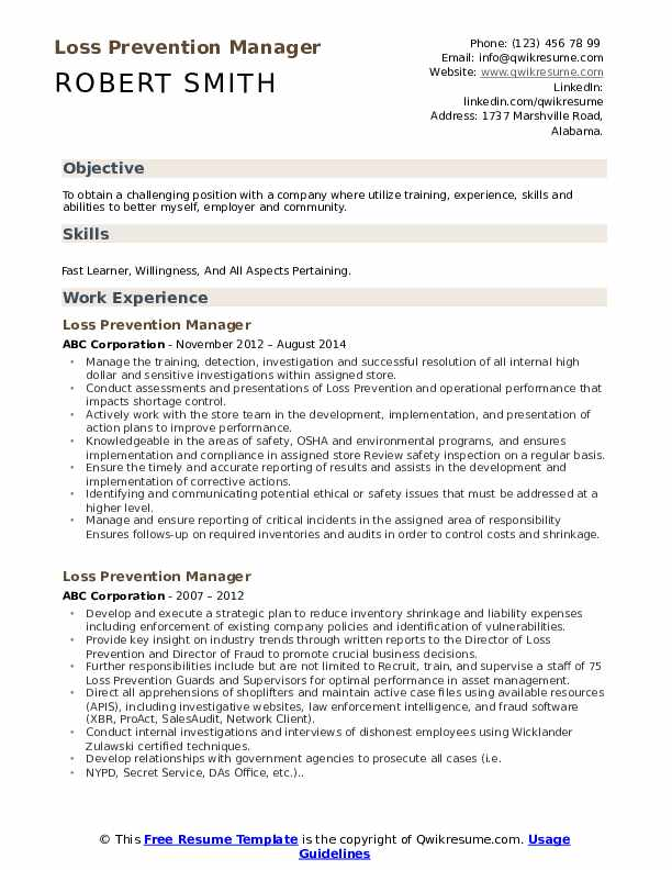 loss prevention manager resume samples qwikresume sample pdf pmo fresher indian for Resume Loss Prevention Manager Resume Sample