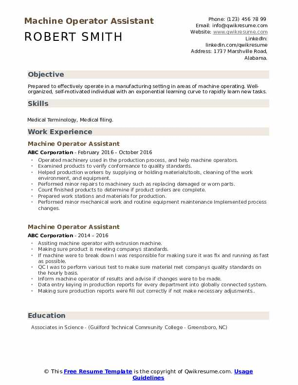 machine operator assistant resume samples qwikresume sample for position pdf free Resume Sample Resume For Machine Operator Position