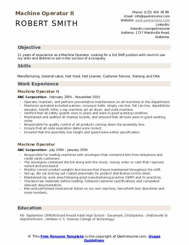 machine operator resume samples qwikresume sample for position pdf potential skills Resume Sample Resume For Machine Operator Position