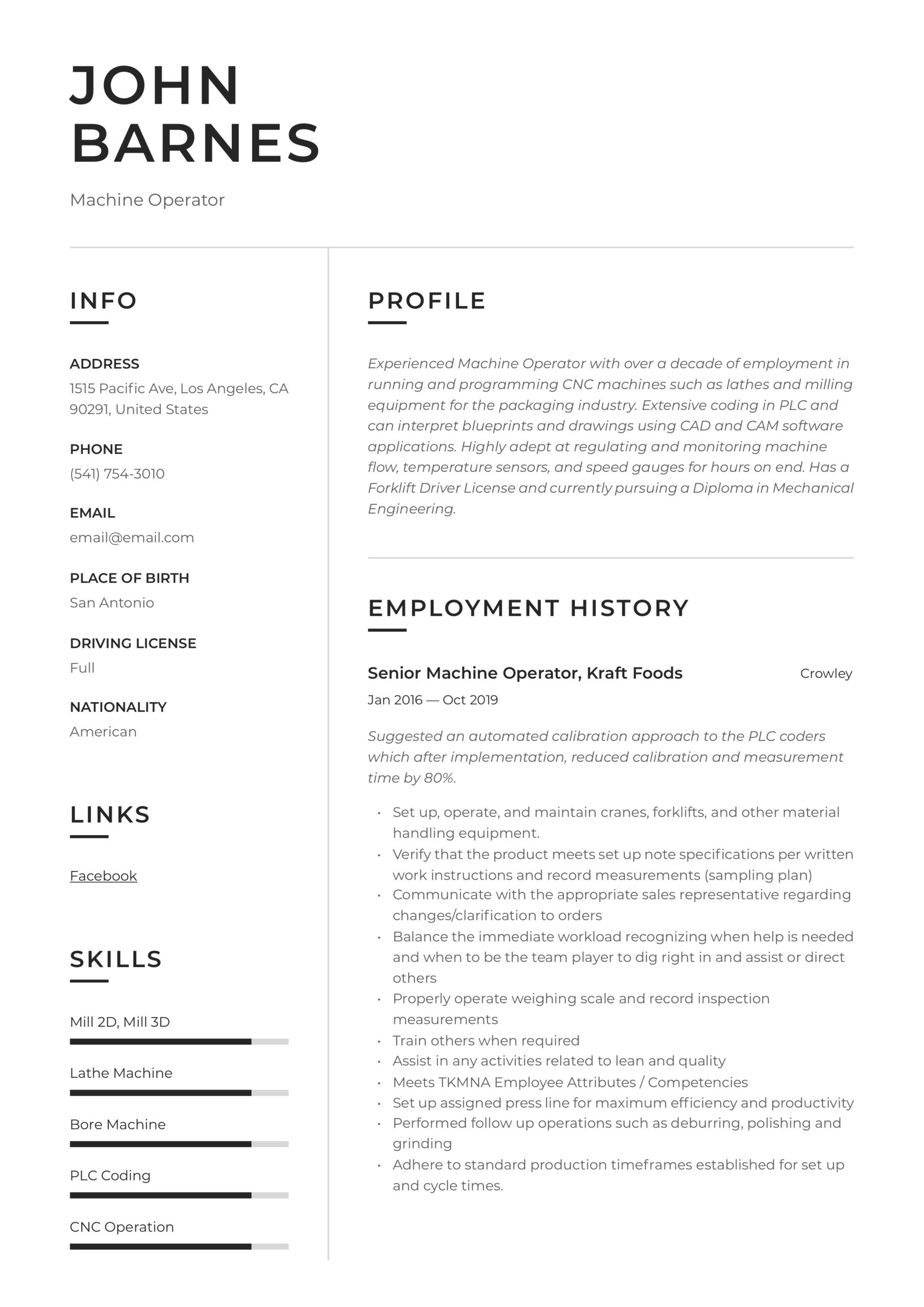 machine operator resume writing guide templates sample for position mba interview web Resume Sample Resume For Machine Operator Position