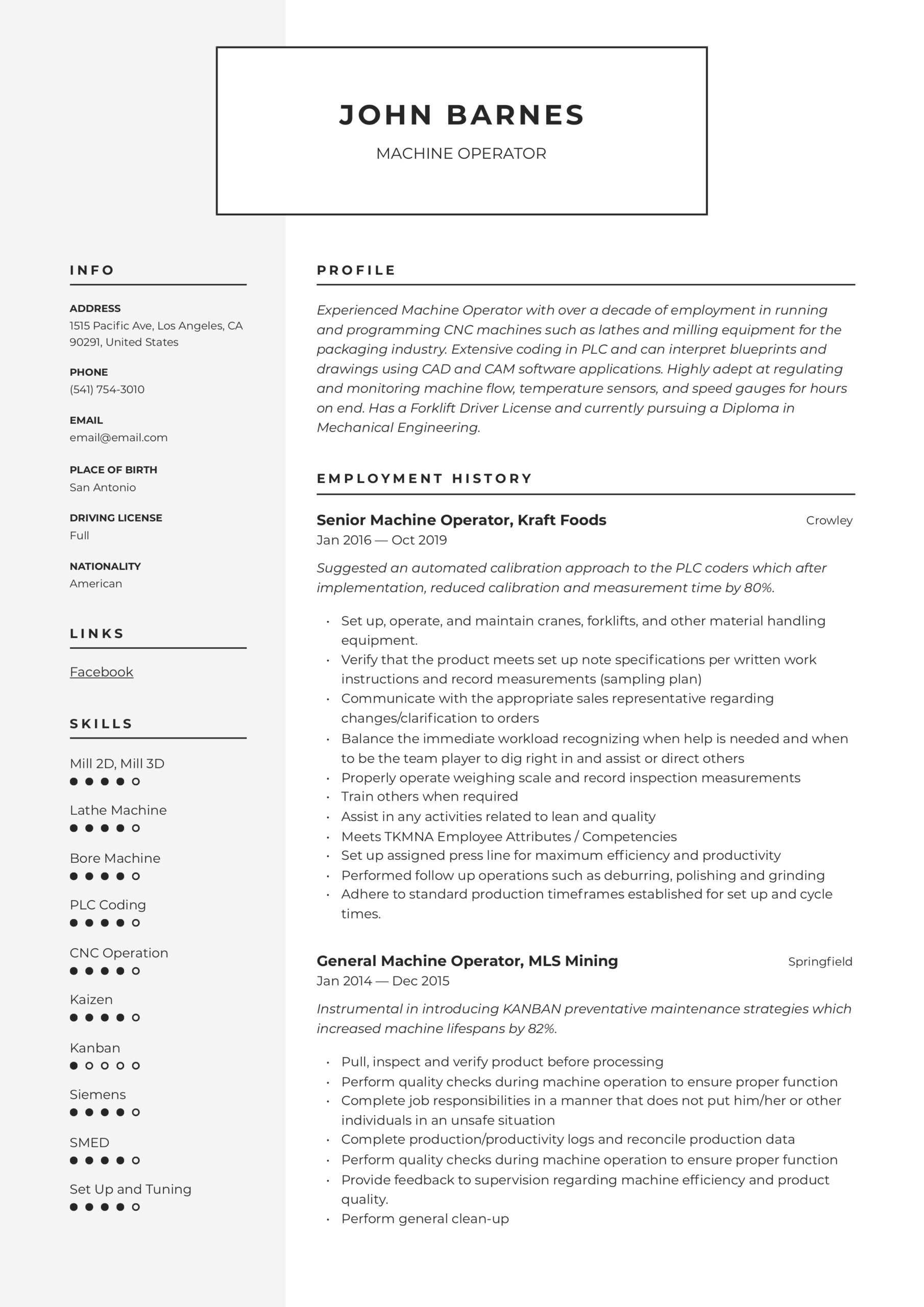 machine operator resume writing guide templates sample for position modern template Resume Sample Resume For Machine Operator Position