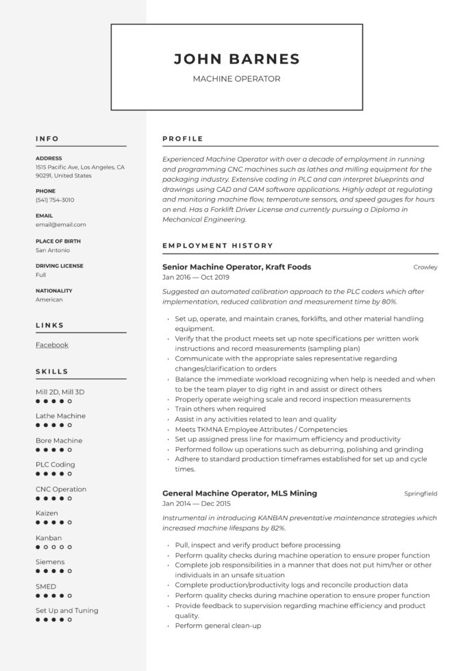 machine operator resume writing guide templates summary for entertainment industry nice Resume Machine Operator Summary For Resume