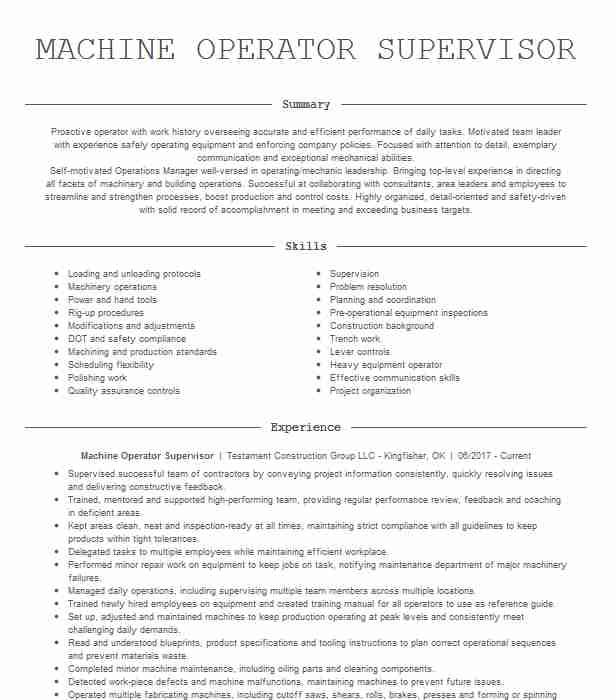 machine operator supervisor resume example times daily heavy equipment special education Resume Heavy Equipment Operator Supervisor Resume