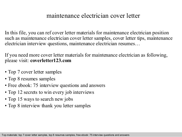 maintenance electrician cover letter electrical apprentice resume objective free for Resume Electrical Apprentice Resume Objective