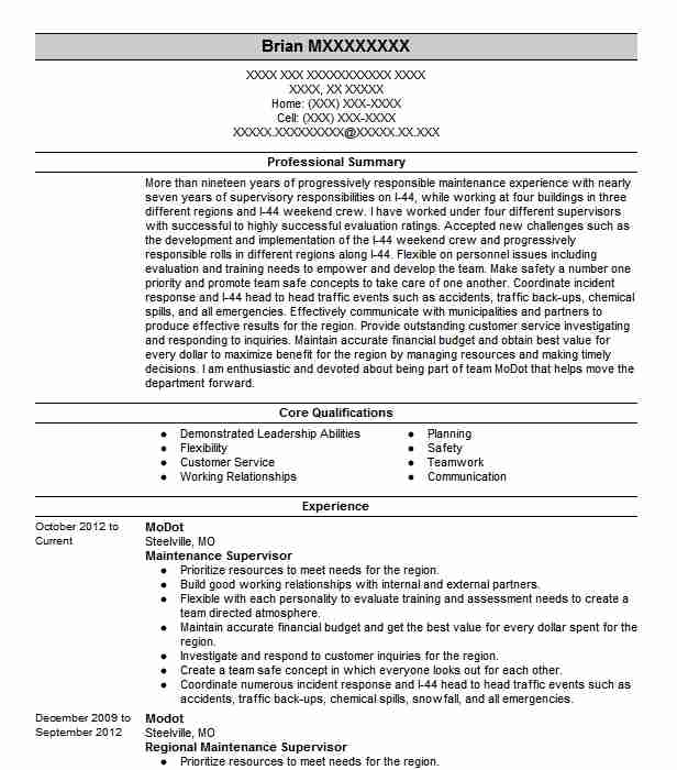 maintenance supervisor resume example technician resumes livecareer building manager Resume Building Maintenance Manager Resume