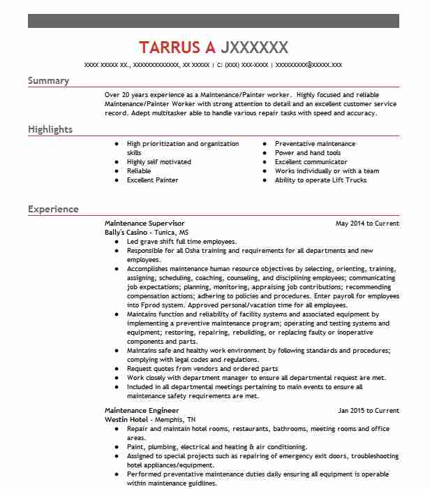 maintenance supervisor resume example technician resumes livecareer manager objective Resume Maintenance Manager Resume Objective