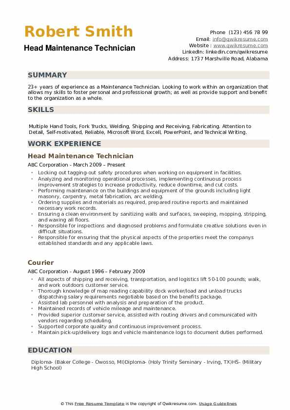 maintenance technician resume samples qwikresume summary pdf free templates for mac itil Resume Technician Resume Summary