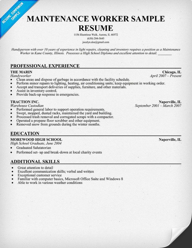 maintenance worker resume sample objective examples example follow up letter respiratory Resume Maintenance Worker Resume Example