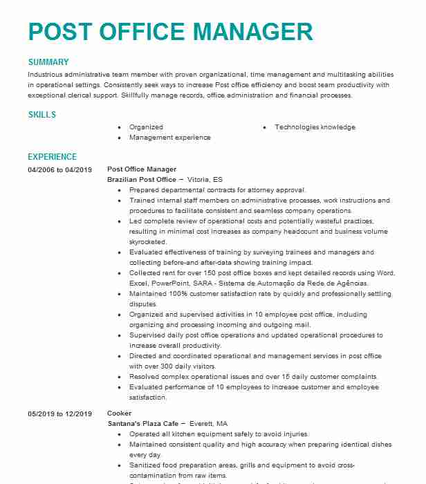 manager post office operations resume example postal service kingsley supervisor cocubes Resume Post Office Supervisor Resume