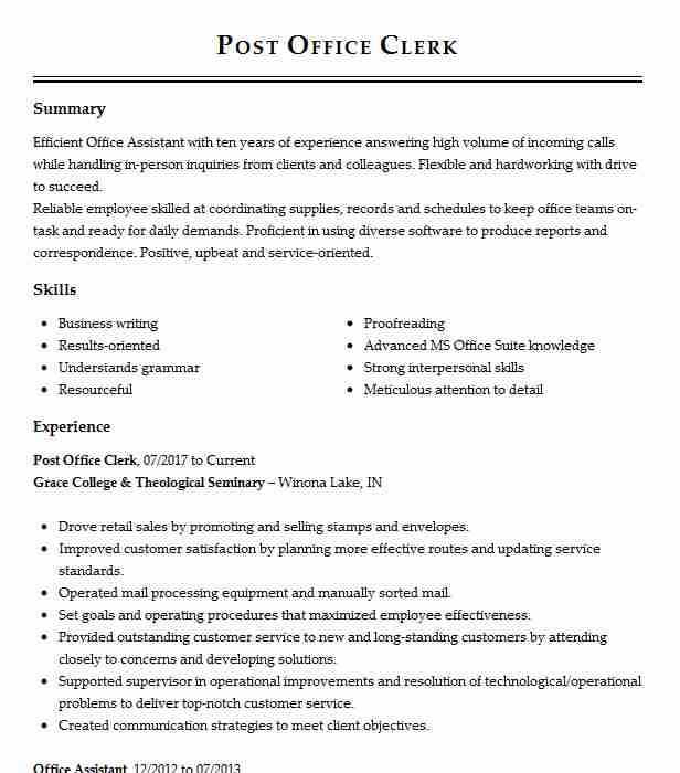 manager post office operations resume example postal service kingsley supervisor director Resume Post Office Supervisor Resume