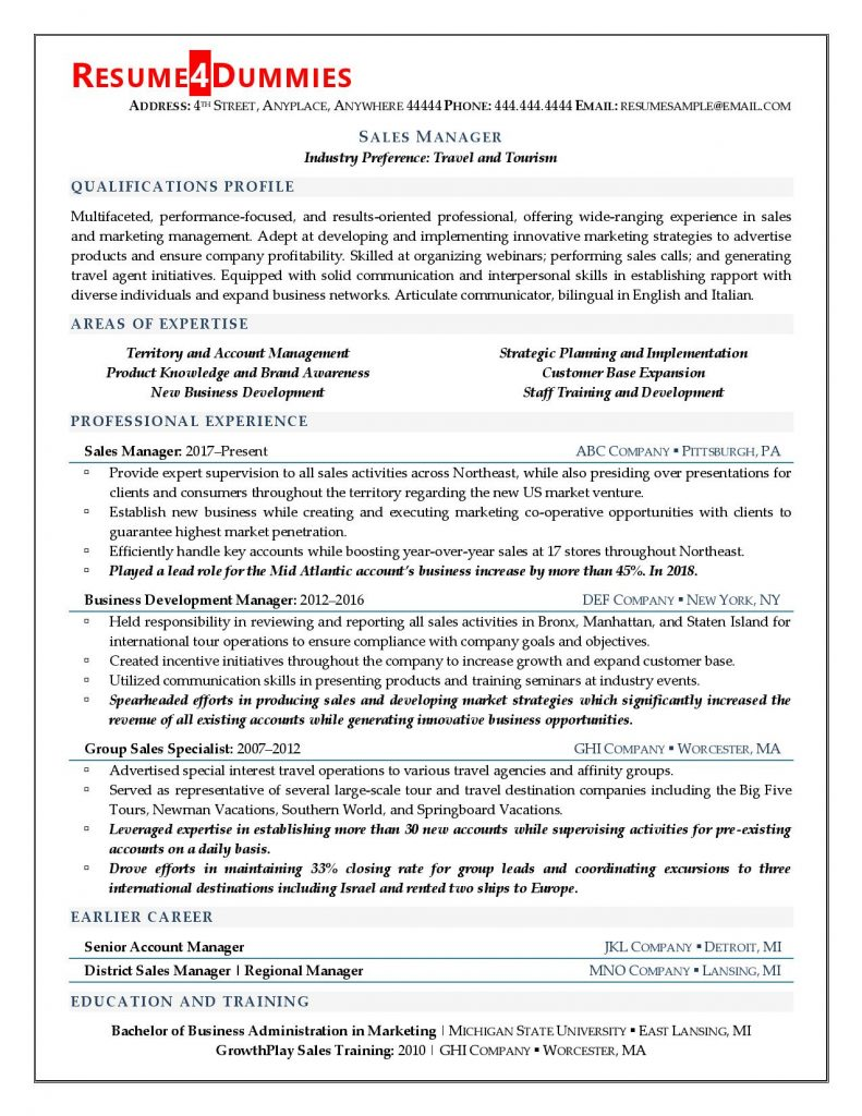 manager resume examples tips resume4dummies qualifications and skills 791x1024 chief Resume Qualifications And Skills Resume