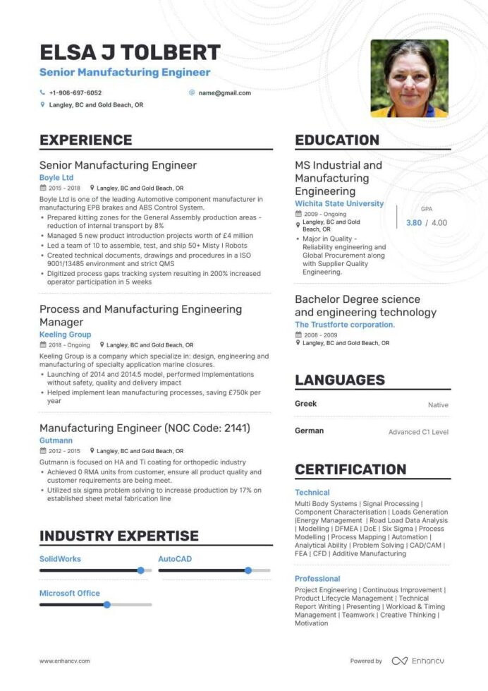 manufacturing engineer resume example for enhancv process summary sap pi consultant good Resume Process Engineer Resume Summary