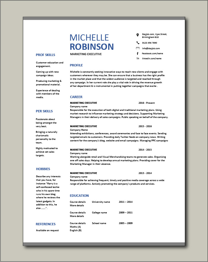 marketing executive resume example sample template promotions writing cv jobs format for Resume Sample Resume Format For Marketing Executive