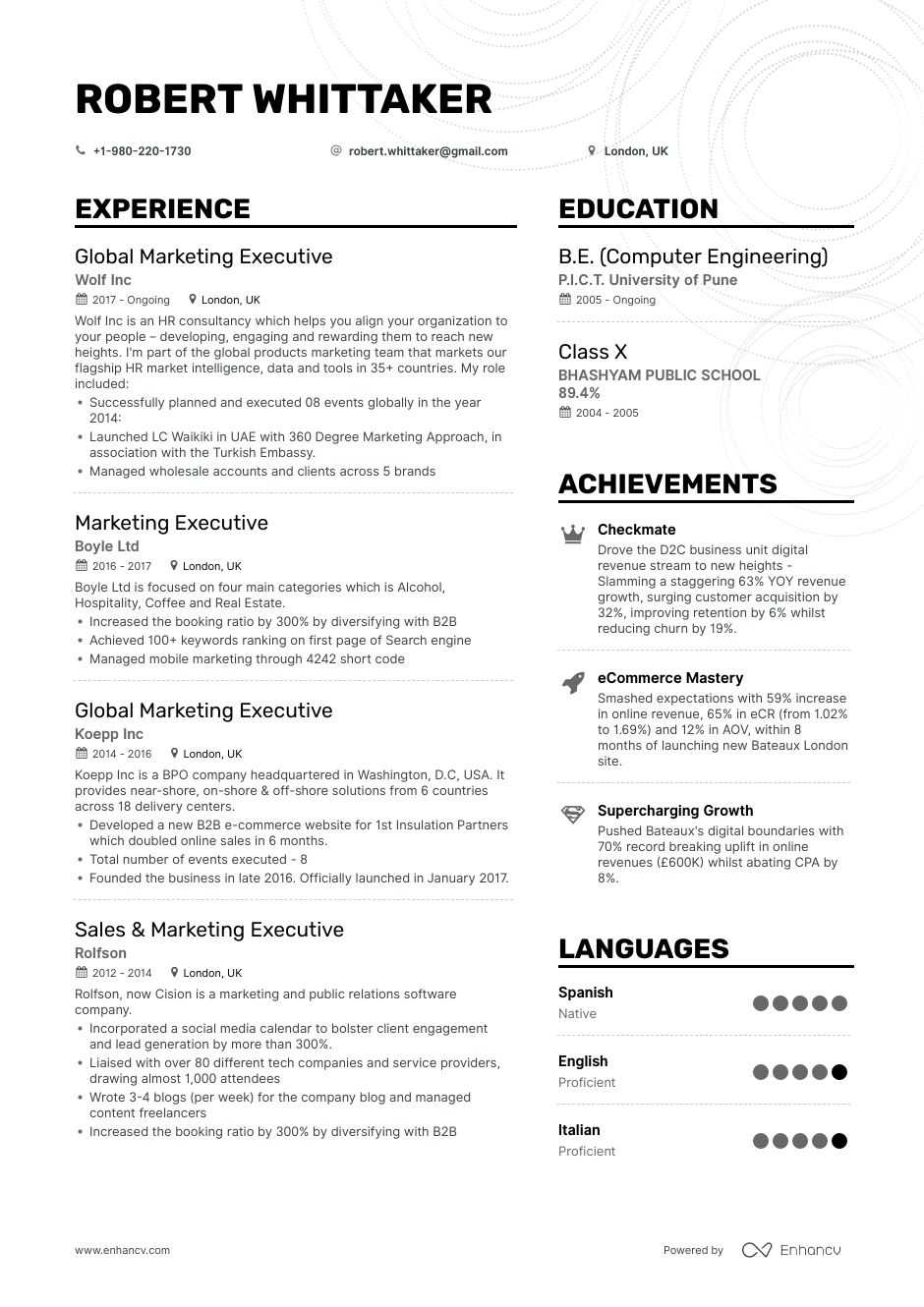 marketing executive resume examples pro tips featured enhancv sample format for customer Resume Sample Resume Format For Marketing Executive