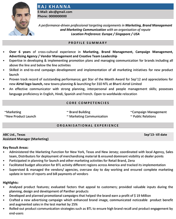 marketing manager cv format resume sample and template for executive infosys great Resume Sample Resume Format For Marketing Executive