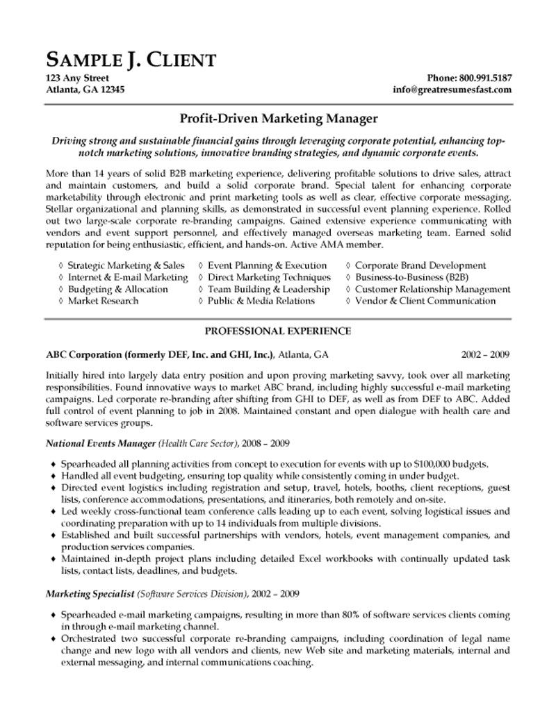 marketing manager resume channel professional theatre hospice administrator event planner Resume Channel Marketing Resume