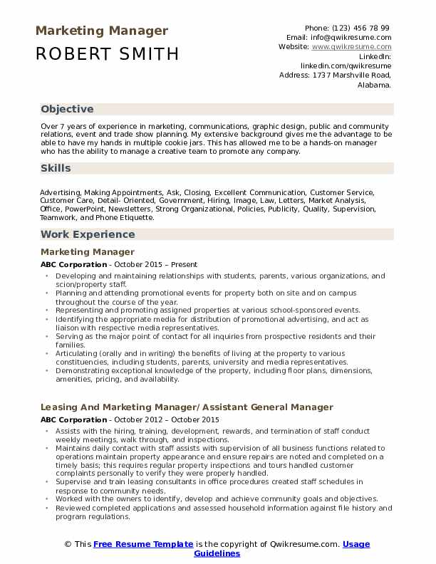 marketing manager resume samples qwikresume job objective pdf references template sample Resume Fake Volunteer Experience Resume