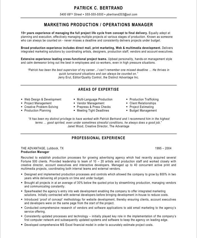 marketing production manager resume free samples project for unskilled worker experience Resume Production Manager Resume