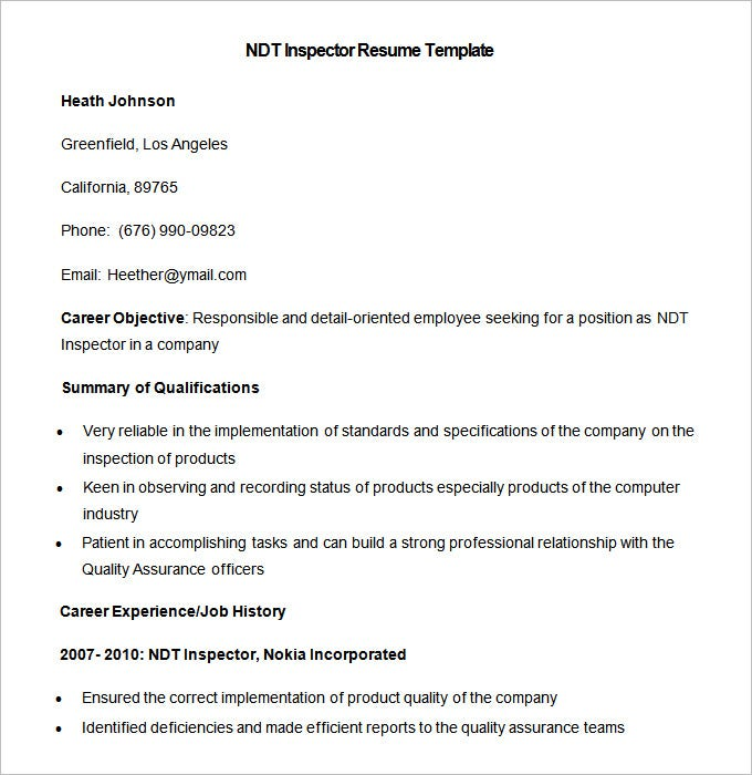 marketing resume template free samples examples format premium templates ndt inspector Resume Ndt Inspector Resume Sample