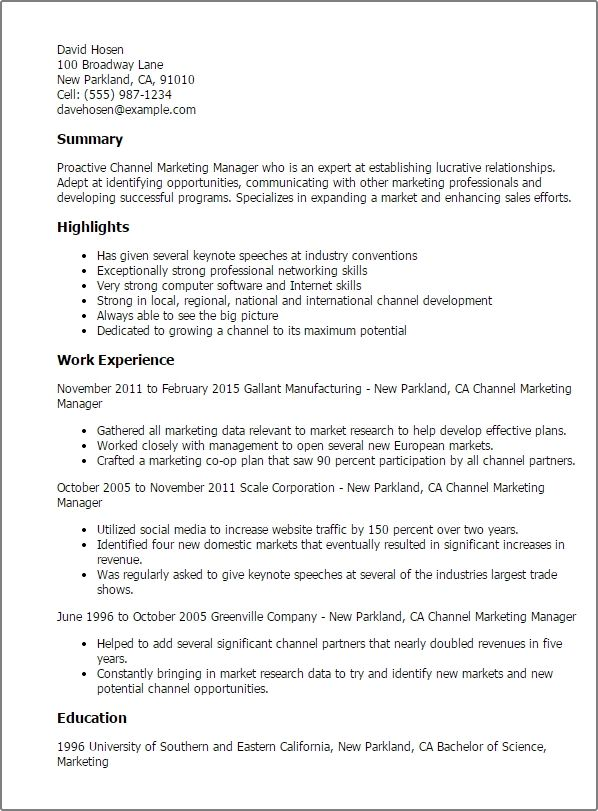 marketing resume templates to impress any employer template channel collections examples Resume Channel Marketing Resume