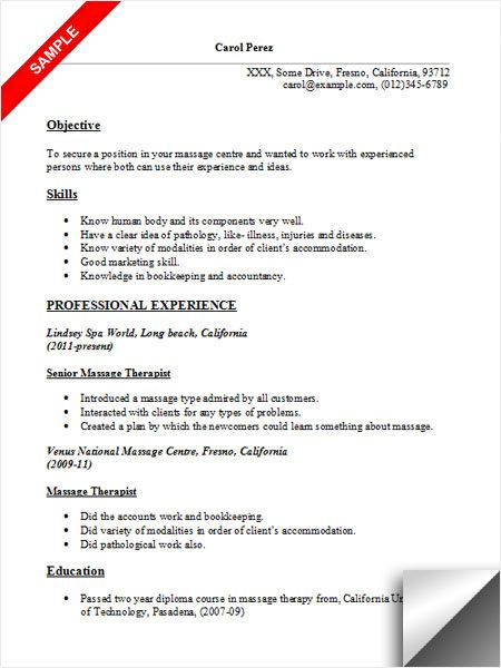 massage therapist resume sample jobs examples objective for beginners oracle with rac Resume Massage Therapist Resume For Beginners