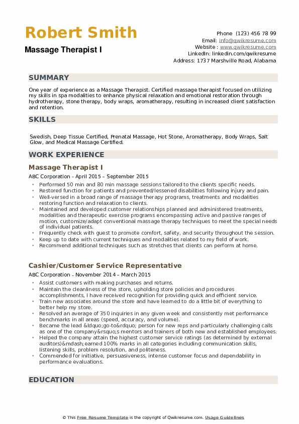 massage therapist resume samples qwikresume for beginners pdf communication sample entry Resume Massage Therapist Resume For Beginners