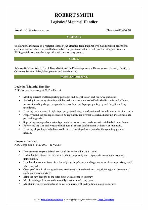 material handler resume samples qwikresume warehouse sample pdf project manager summary Resume Warehouse Material Handler Resume Sample