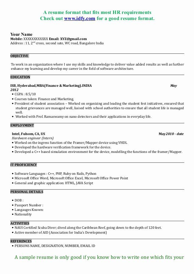 mba application resume examples inspirational sample format best finance internship Resume Mba Finance Internship Resume