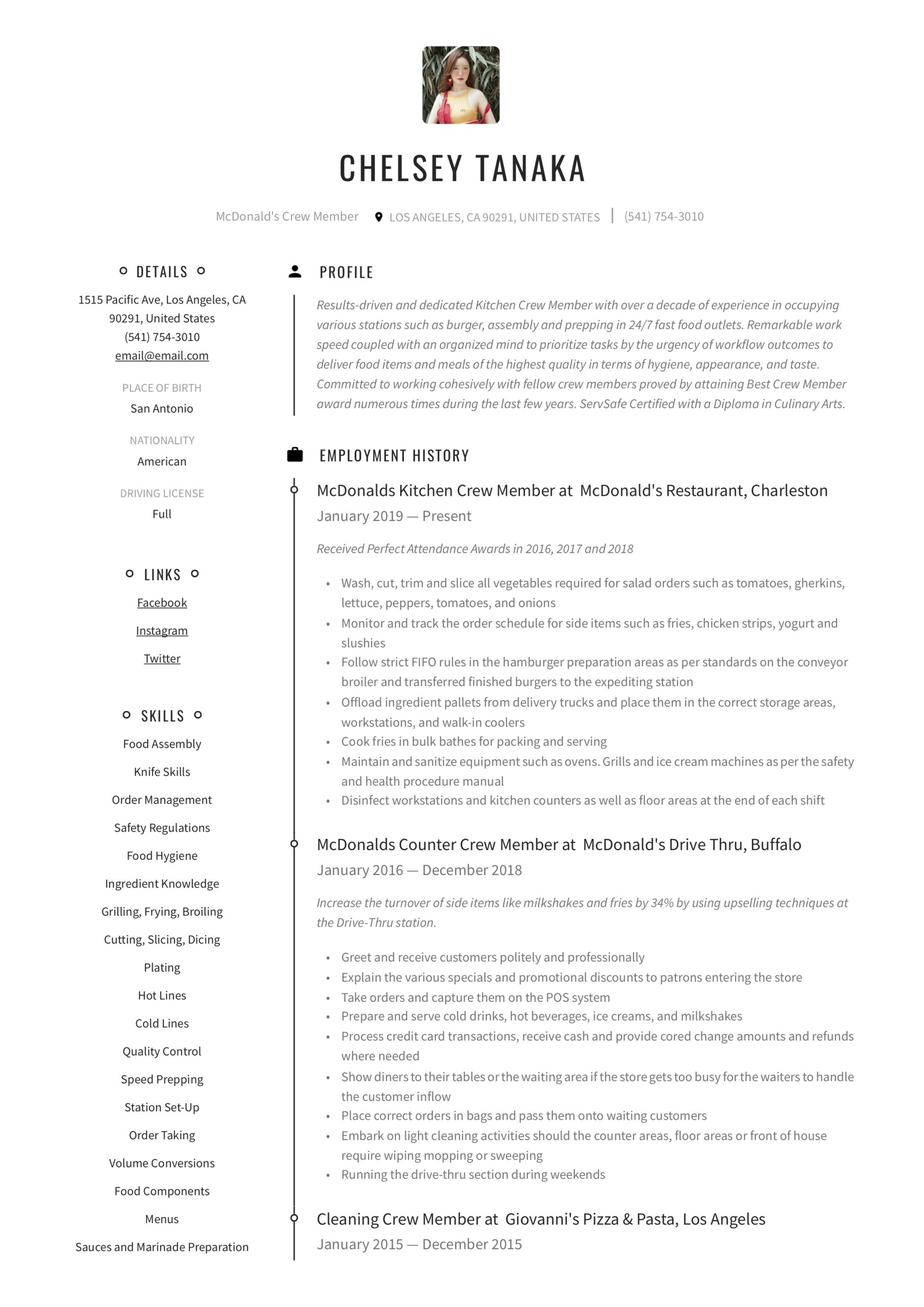 mcdonalds crew member resume writing guide examples maintenance home depot financial Resume Mcdonalds Maintenance Resume