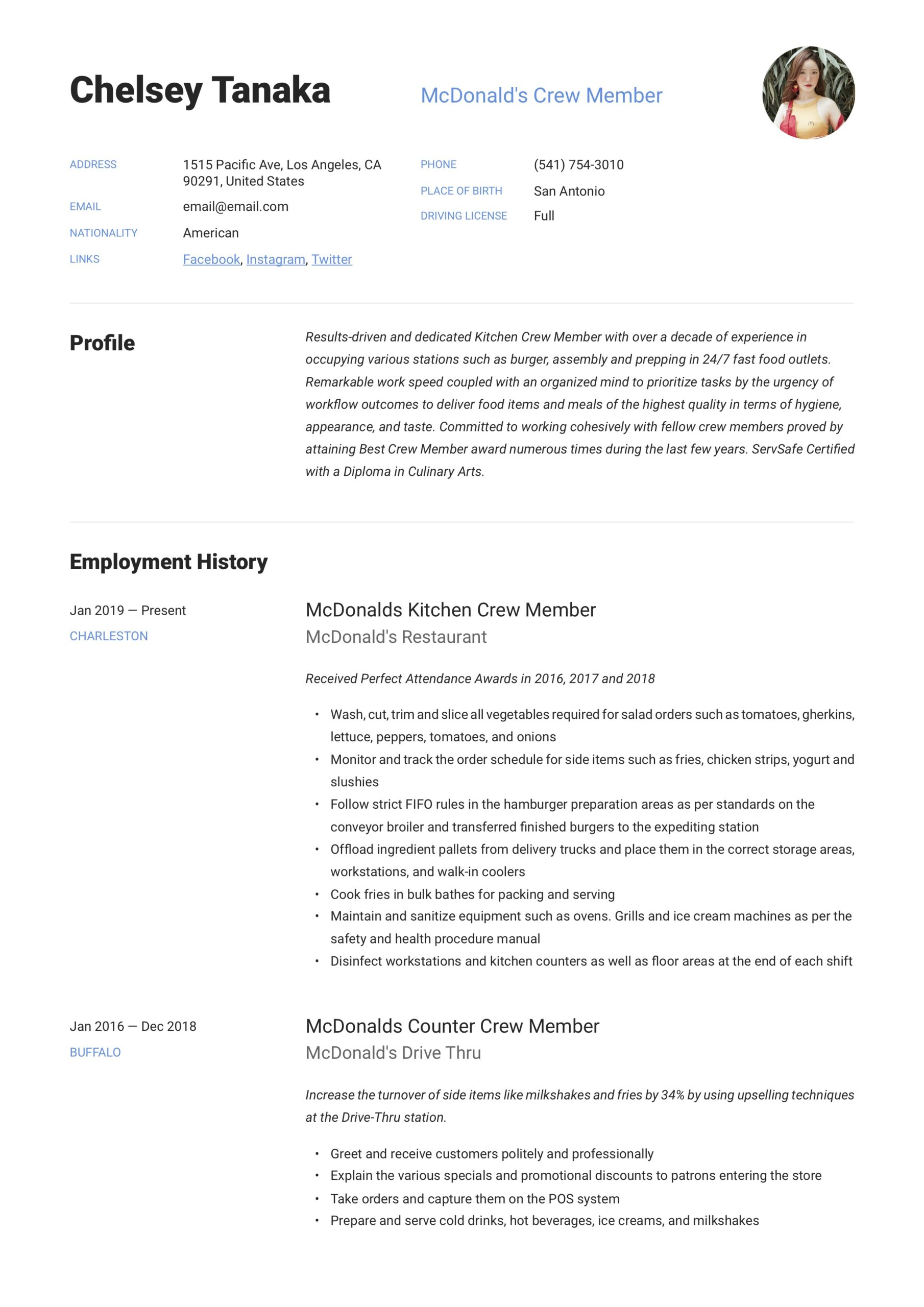 mcdonalds crew member resume writing guide examples maintenance medical coding experience Resume Mcdonalds Maintenance Resume