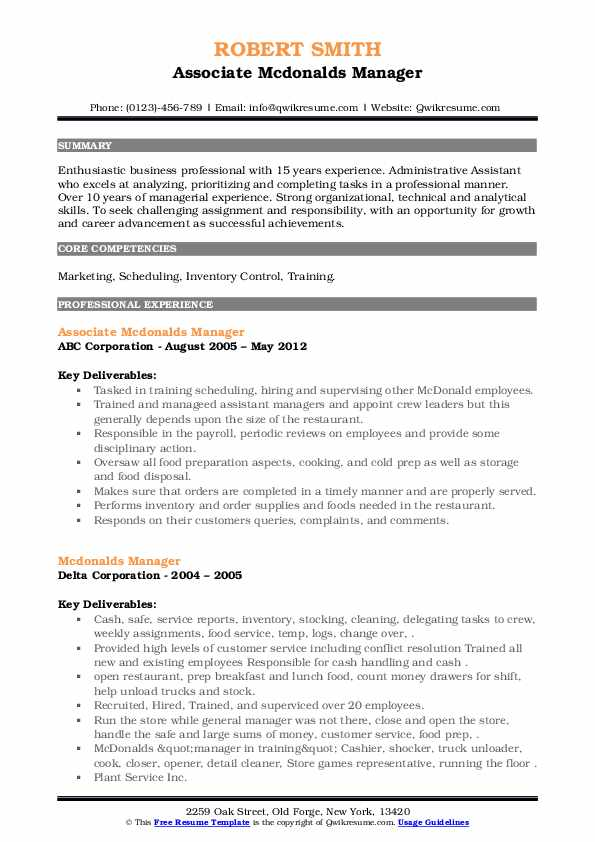 mcdonalds manager resume samples qwikresume maintenance pdf another word for responsible Resume Mcdonalds Maintenance Resume