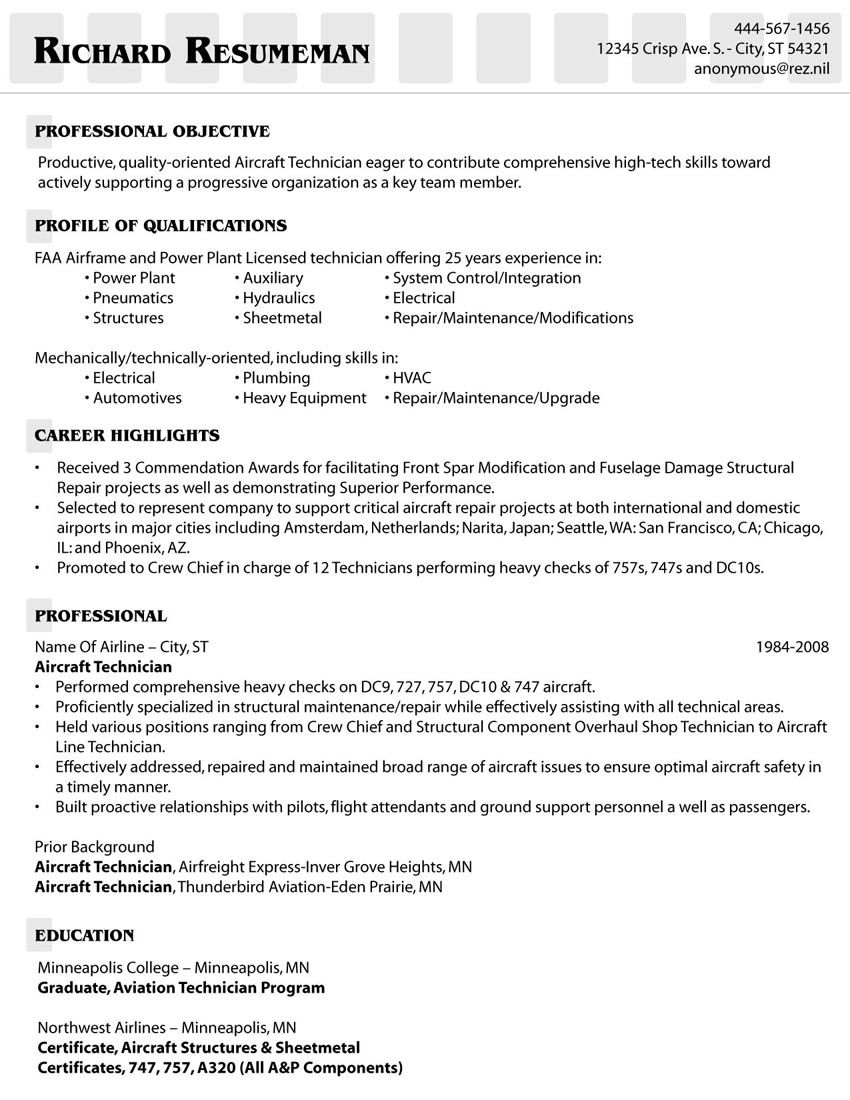 mechanic resume examples skills education aviation sample free templates for high school Resume Aviation Mechanic Resume Sample