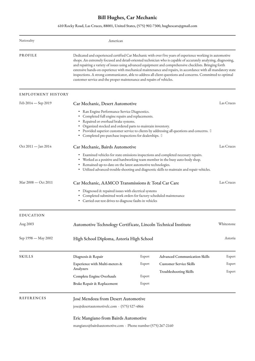 mechanic resume examples writing tips free guide io summary for example personal youth Resume Resume Summary Examples For Mechanic