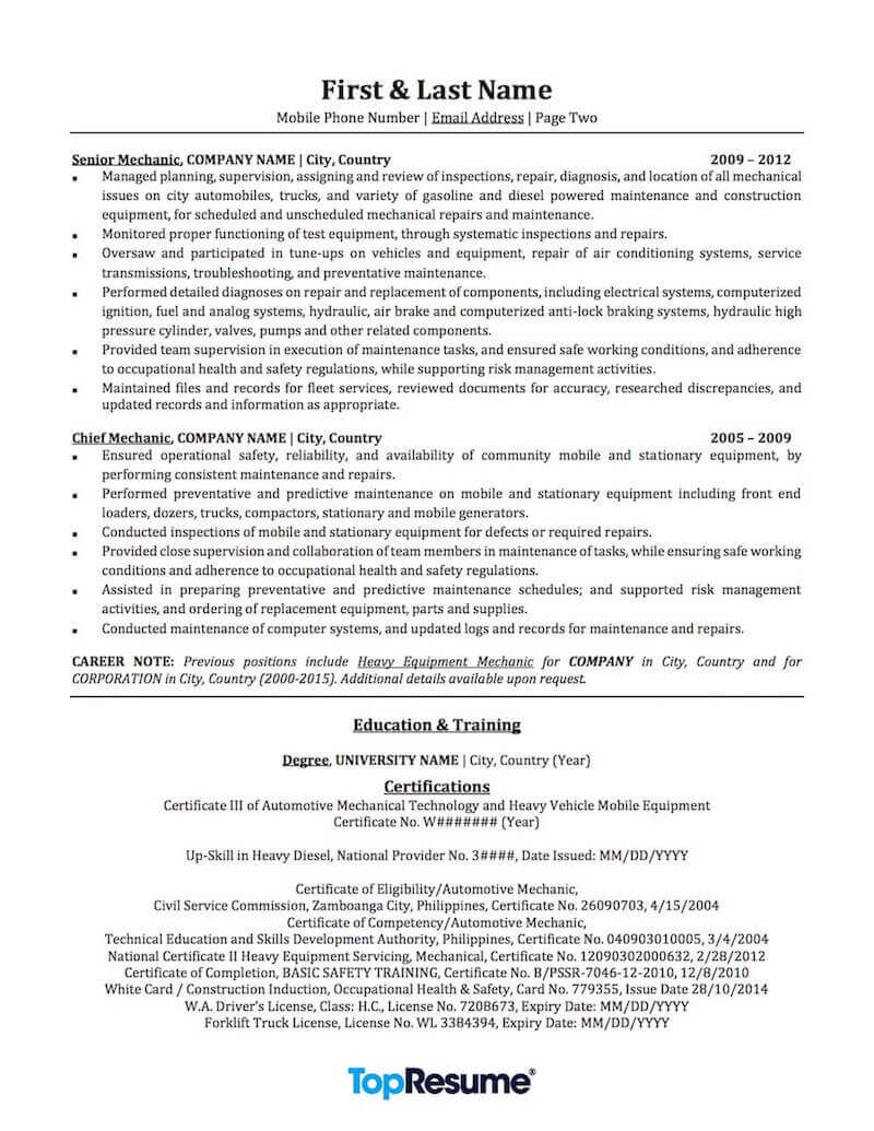 mechanic resume sample professional examples topresume summary for automotive services Resume Resume Summary Examples For Mechanic