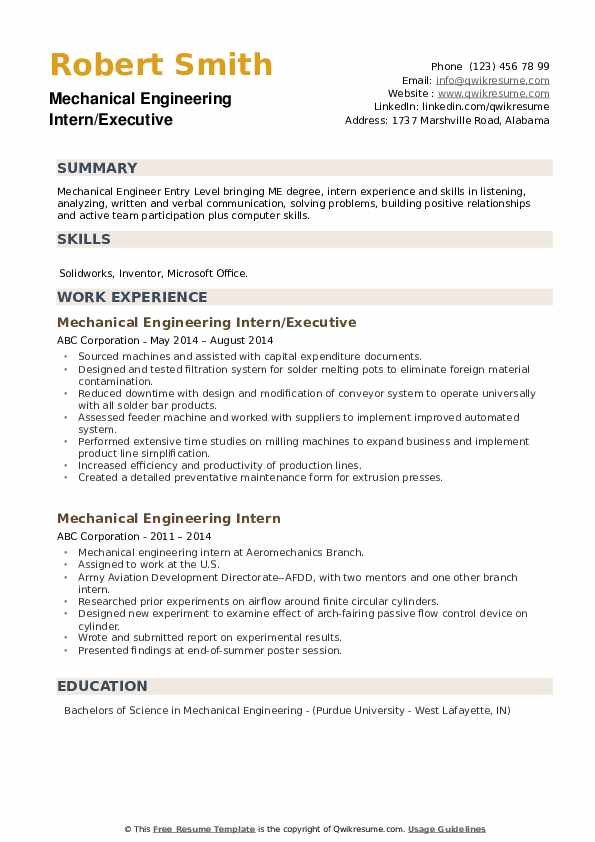 mechanical engineering intern resume sample entry level examples pdf college freshman Resume Entry Level Mechanical Engineering Resume Examples