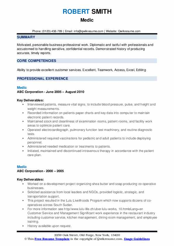 medic resume samples qwikresume offshore experience pdf google sheets template good color Resume Offshore Experience Resume