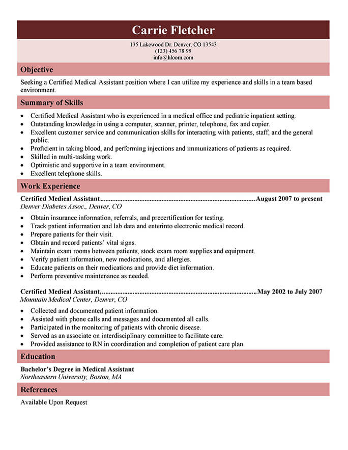 medical assistant resume templates and job tips hloom generic certified up your recent Resume Medical Assistant Resume 2019