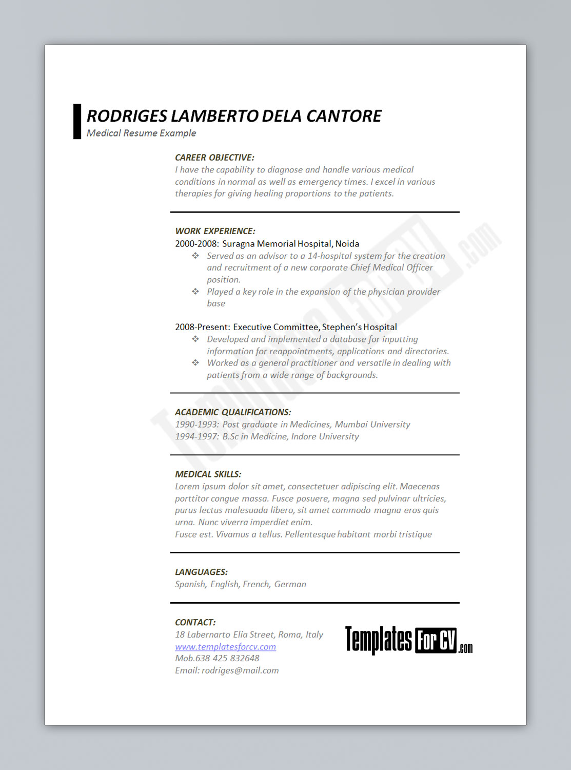 medical cv template doctor resume example rodriges musical theatre casual teaching rn Resume Medical Doctor Resume Example